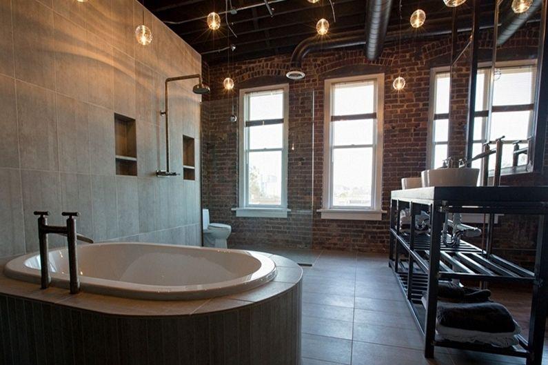 Угловая ванна в лофт дизайне