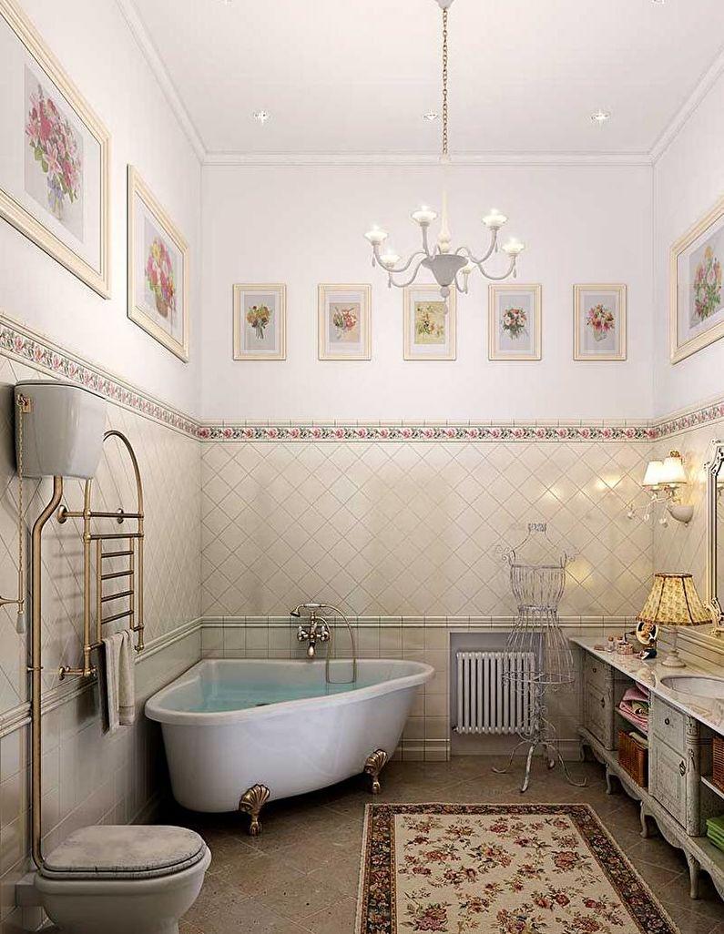 Угловая ванна в дизайне прованс