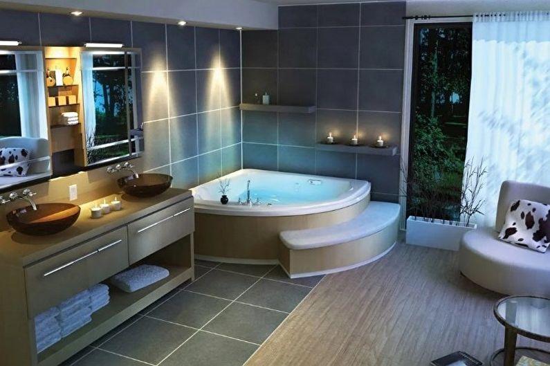 Угловая ванна в хай-тек дизайне