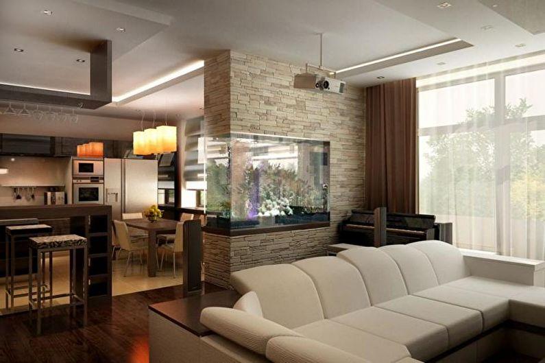 Виды зонирования комнаты - Декоративные конструкции