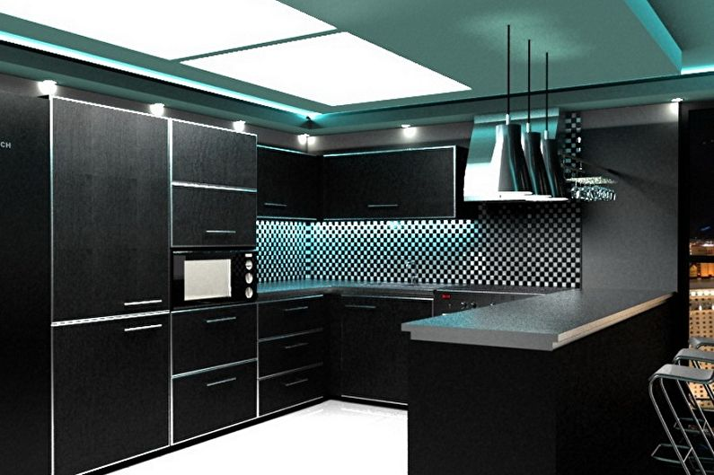Черная кухня в стиле хай-тек - Дизайн интерьера