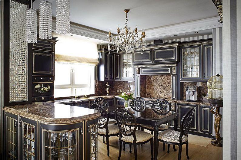 Черная кухня в классическом стиле - Дизайн интерьера