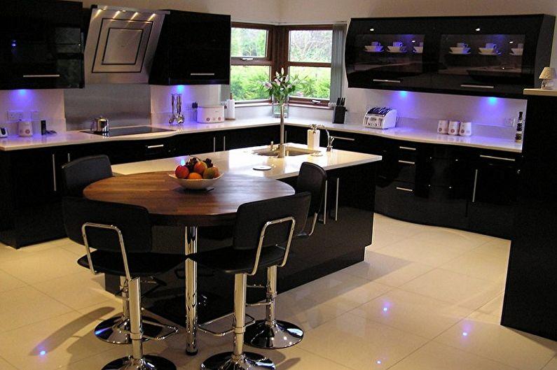 Дизайн черной кухни - Отделка пола