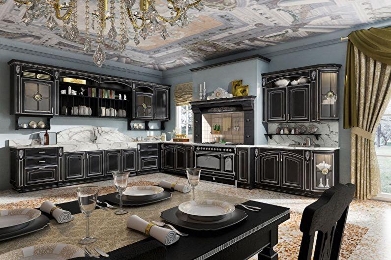 Дизайн черной кухни - Отделка стен