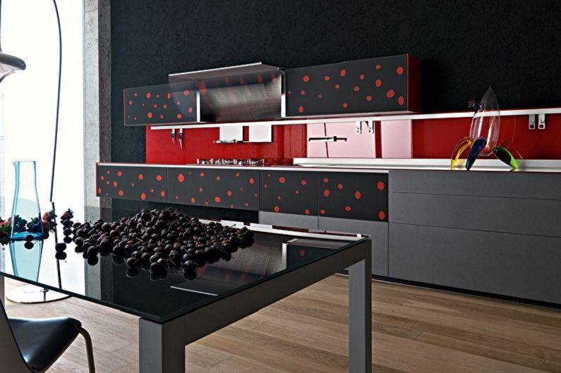 Дизайн черной кухни - Отделка фартука