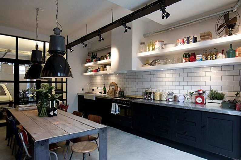 Дизайн черной кухни - Освещение