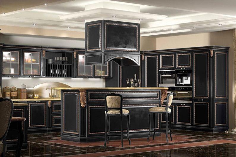 Черная кухня - дизайн интерьера фото