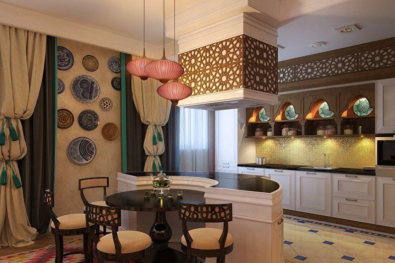 Розовая кухня в этническом стиле - Дизайн интерьера