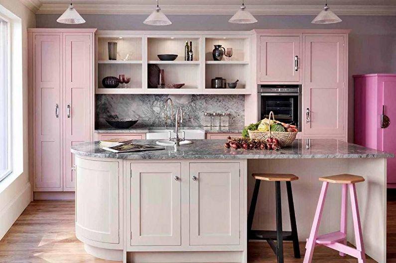 Розовая кухня в стиле ретро - Дизайн интерьера