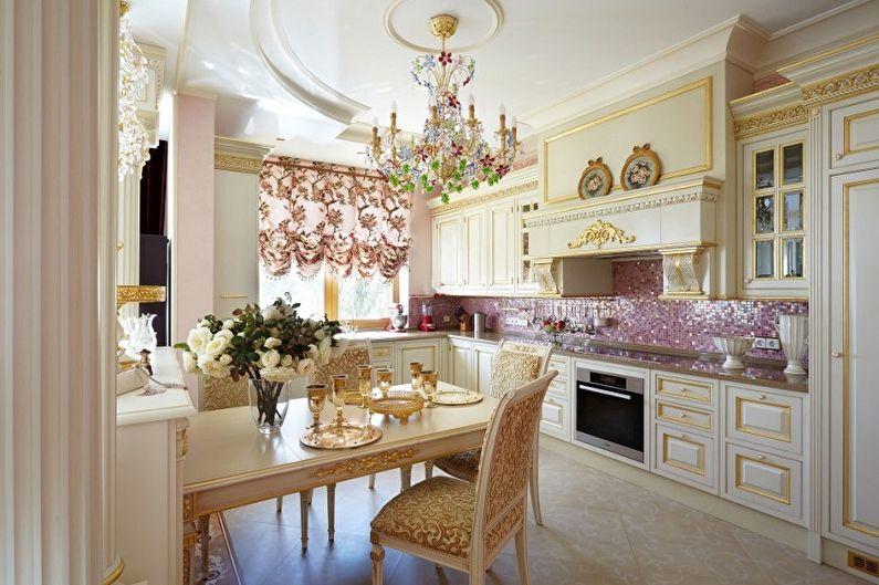 Розовая кухня в стиле рококо - Дизайн интерьера