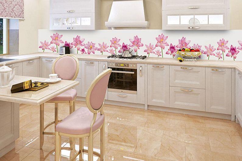 Дизайн розовой кухни - Отделка пола