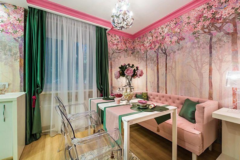 Дизайн розовой кухни - Отделка стен