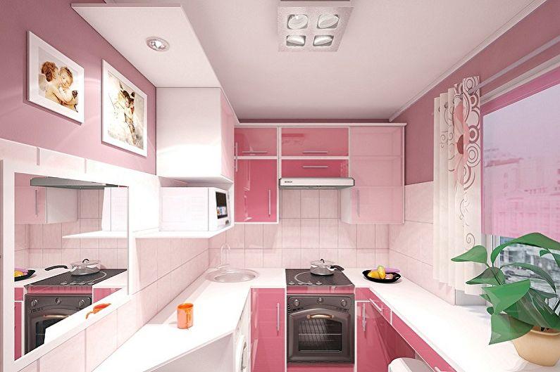 Дизайн розовой кухни - Отделка потолка