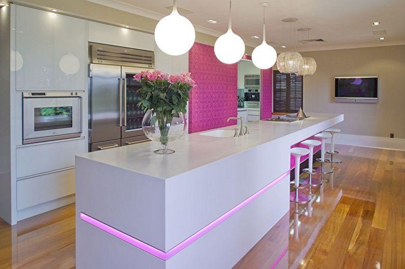 Дизайн розовой кухни - Декор и освещение
