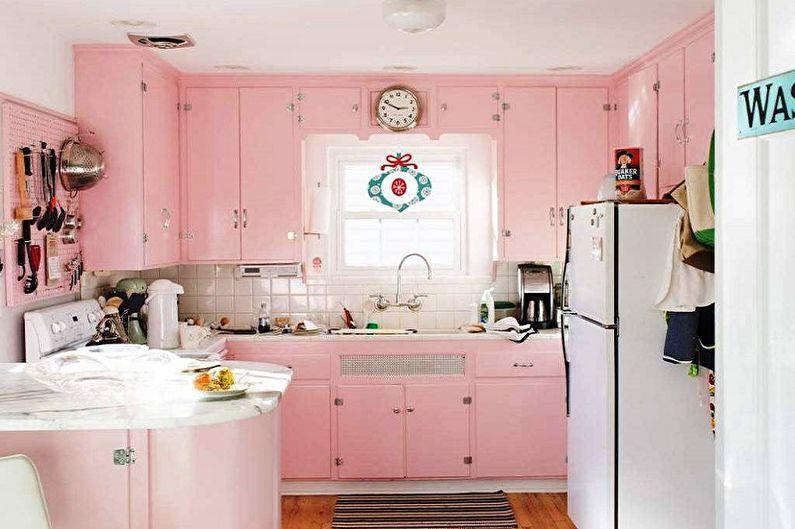 Маленькая розовая кухня - Дизайн интерьера