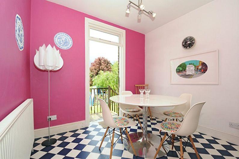 Розовая кухня - дизайн интерьера фото