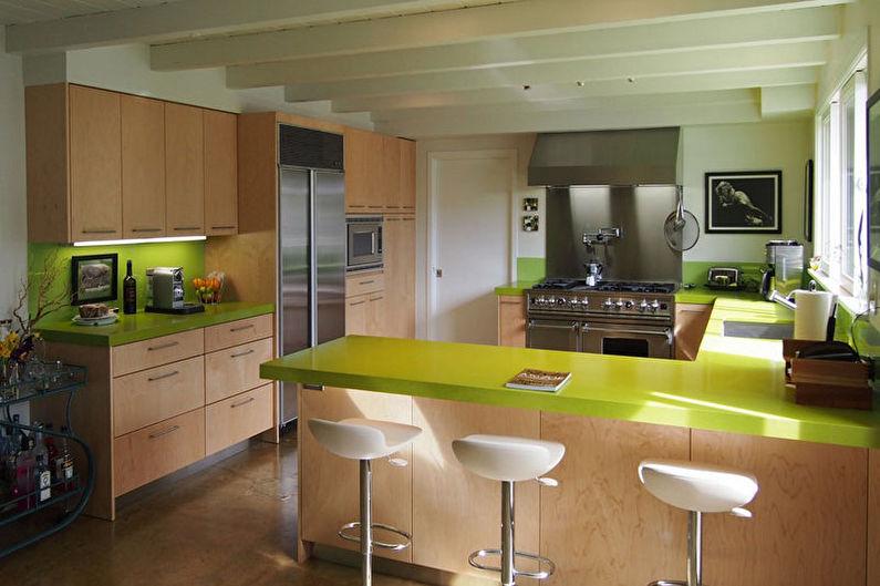 Зеленая кухня в современном стиле - Дизайн интерьера
