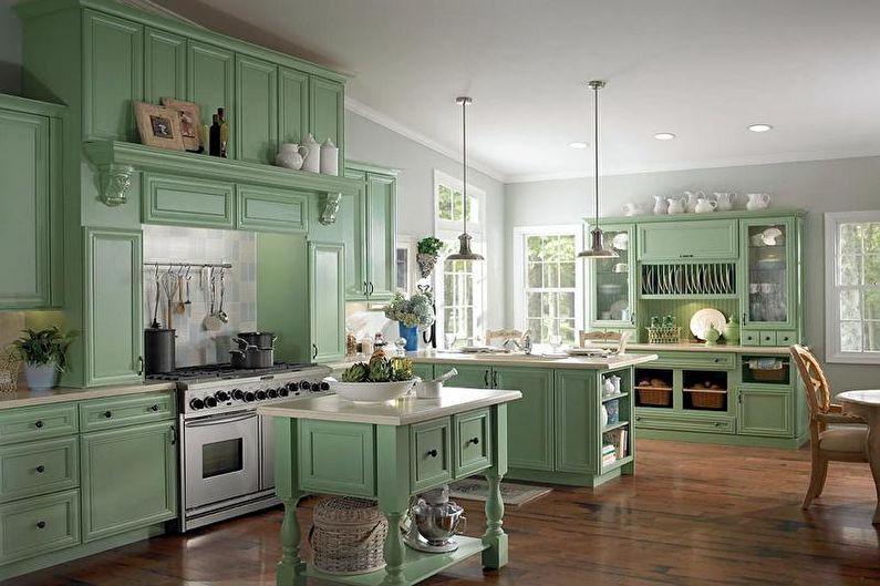 Зеленая кухня в классическом стиле - Дизайн интерьера