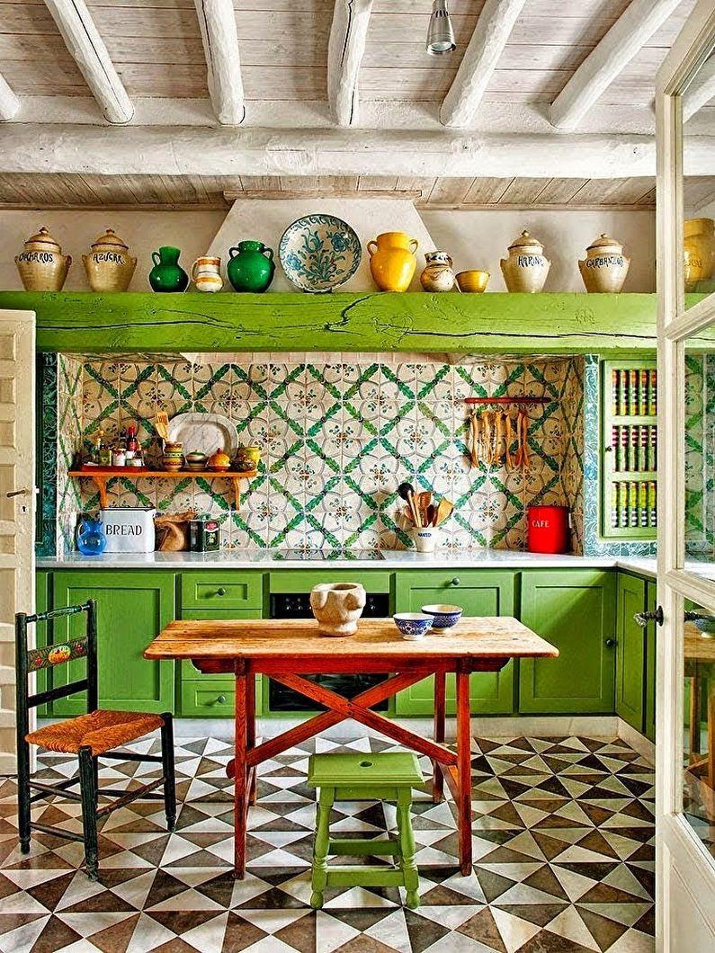 Зеленая кухня в средиземноморском стиле - Дизайн интерьера