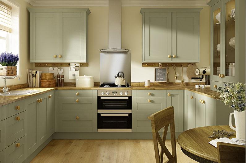 Дизайн зеленой кухни - Отделка пола