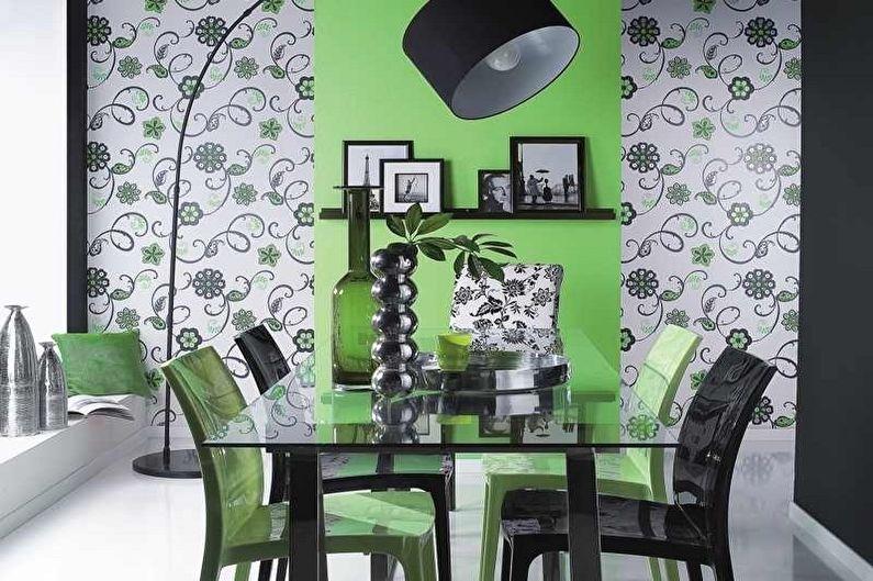 Дизайн зеленой кухни - Отделка стен