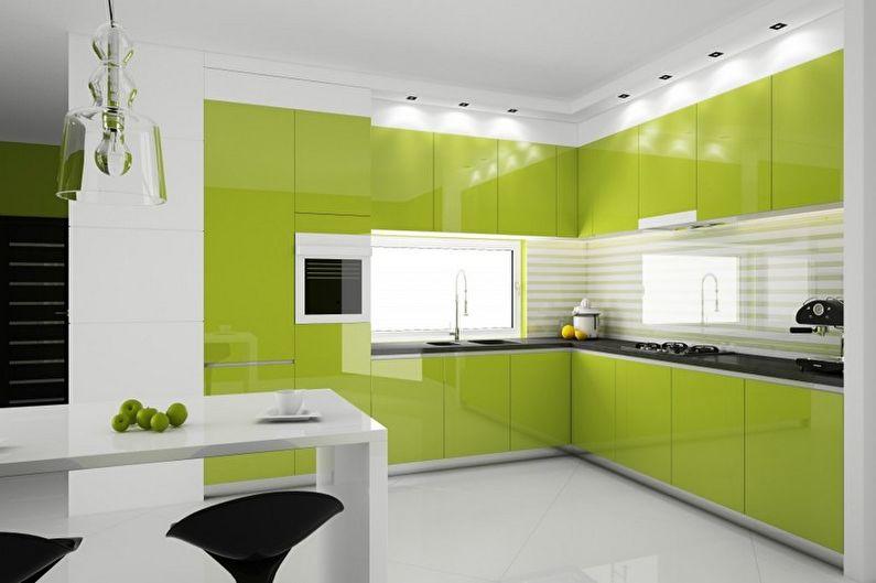 Дизайн зеленой кухни - Отделка потолка