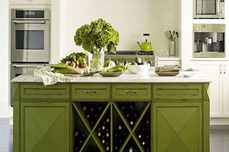Дизайн зеленой кухни - Мебель