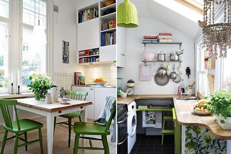 Дизайн зеленой кухни - Декор и освещение