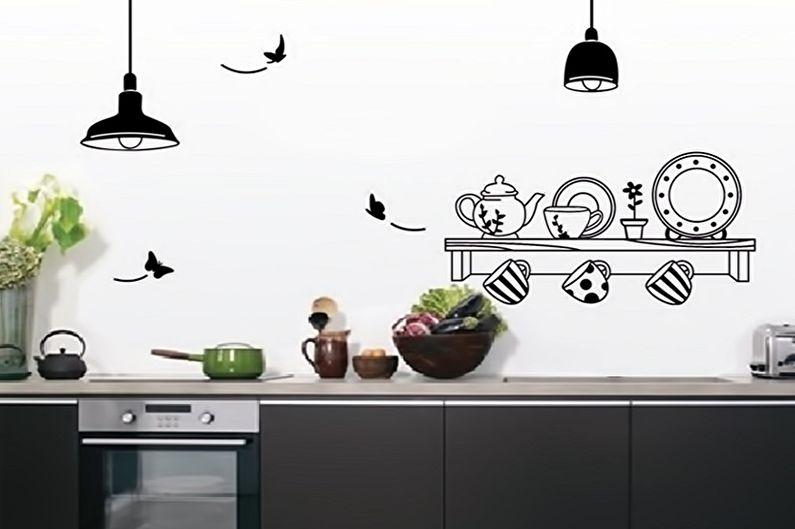 Наклейки на обои в интерьере кухни - фото