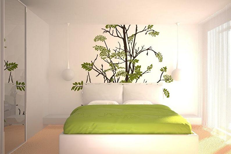 Наклейки на обои в интерьере спальни - фото
