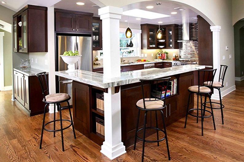 Кухни с барной стойкой - Материалы и оформление