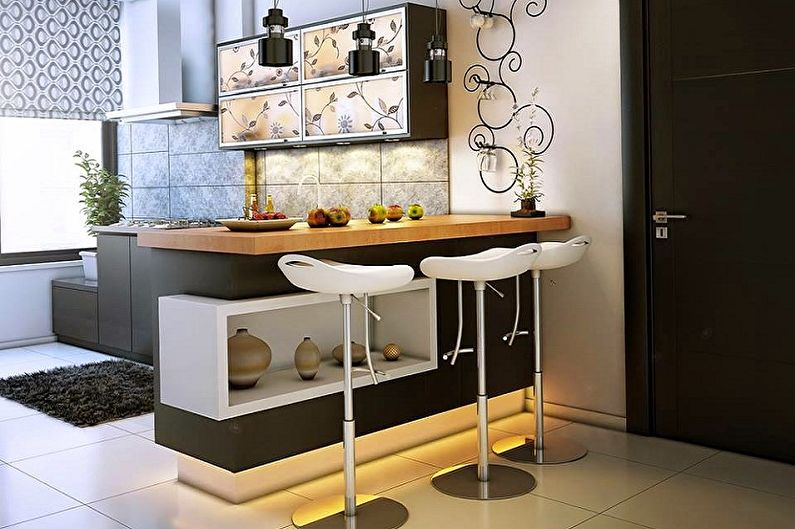 Кухни с барной стойкой - Стойка с тумбой