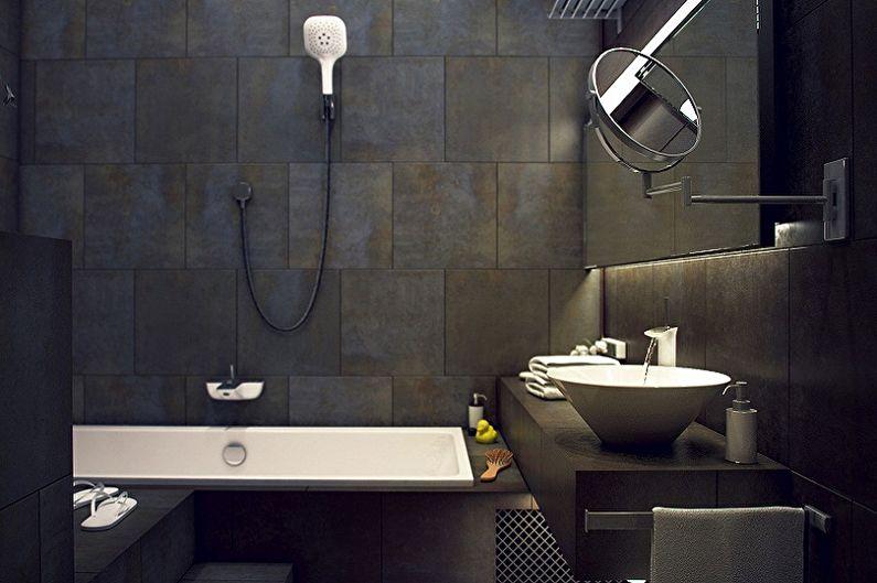 Черная ванная комната в стиле лофт - Дизайн интерьера