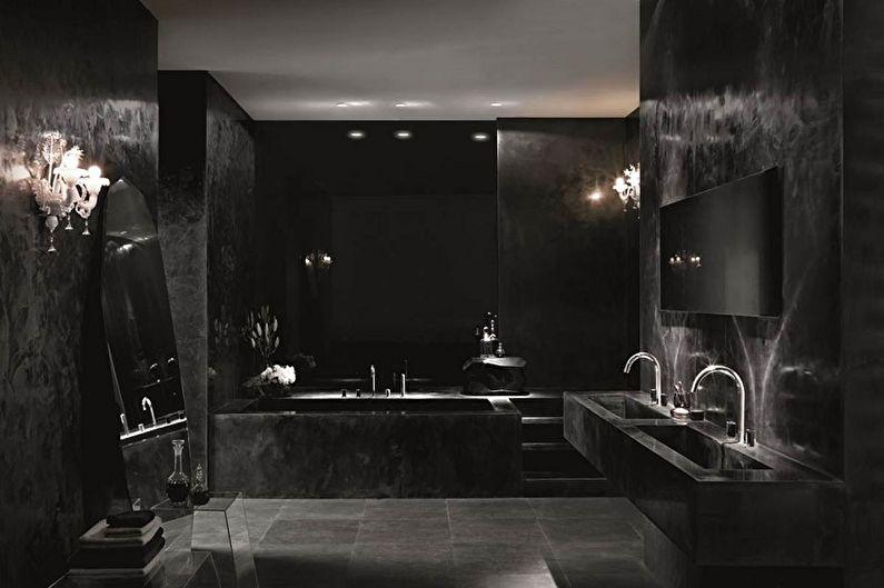Черная ванная комната в готическом стиле - Дизайн интерьера