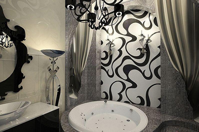 Черная ванная комната в стиле арт-деко - Дизайн интерьера