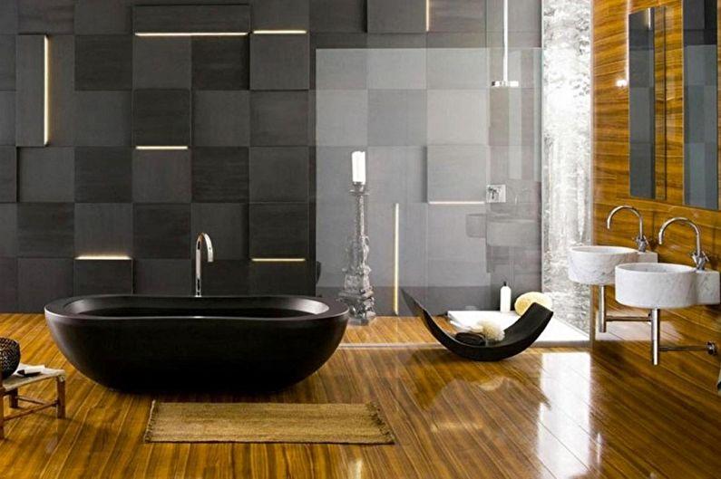 Дизайн черной ванной комнаты - Отделка пола