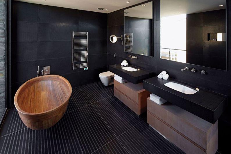 Дизайн черной ванной комнаты - Отделка стен