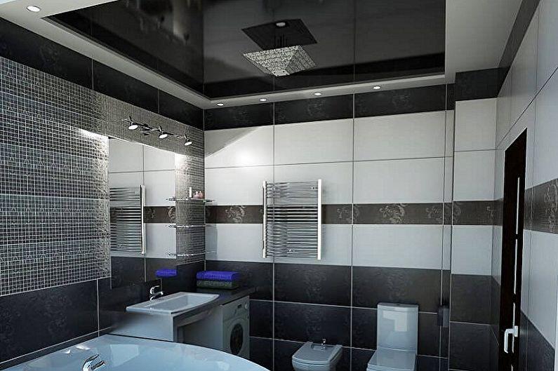 Дизайн черной ванной комнаты - Отделка потолка