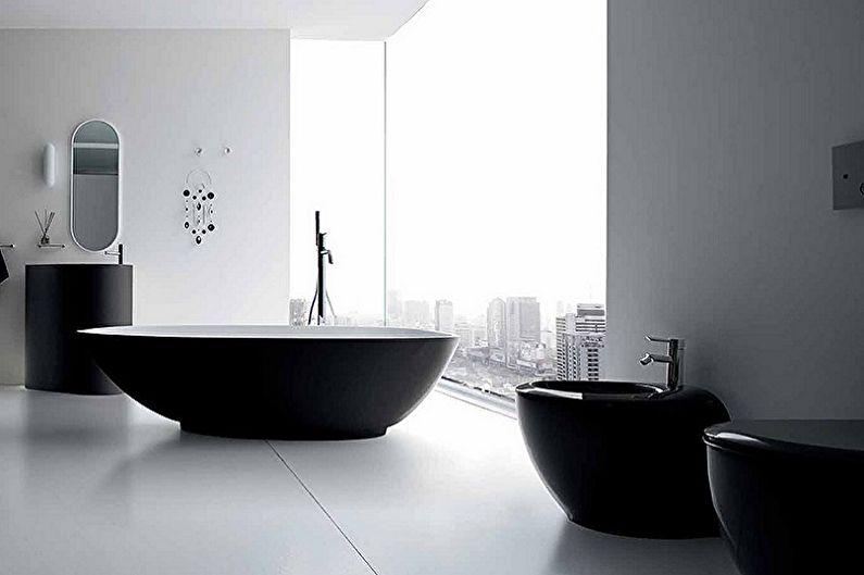 Дизайн черной ванной комнаты - Мебель
