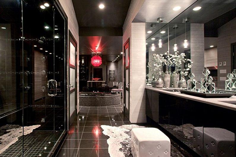 Дизайн черной ванной комнаты - Декор и освещение