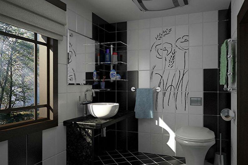 Маленькая черная ванная комната - Дизайн интерьера