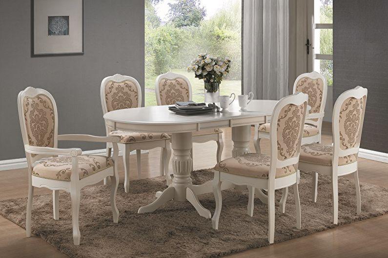 Обеденный стол с двумя ножками