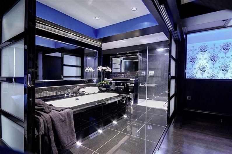 Синяя ванная комната в стиле хай-тек - Дизайн интерьера