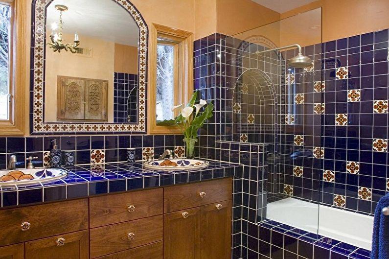 Синяя ванная комната в восточном стиле - Дизайн интерьера