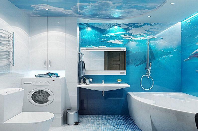Синяя ванная комната в морском стиле - Дизайн интерьера