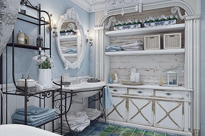 Синяя ванная комната в стиле прованс - Дизайн интерьера