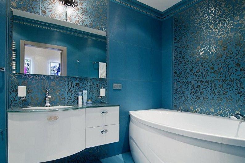 Синяя ванная комната в стиле арт-деко - Дизайн интерьера