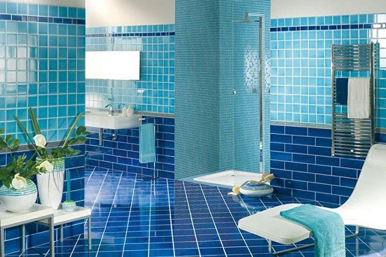 Дизайн синей ванной комнаты - Отделка пола
