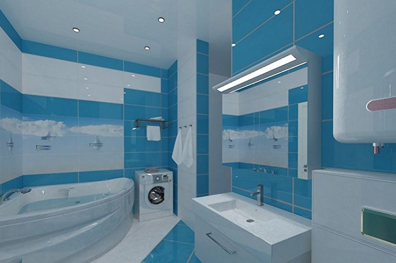 Дизайн синей ванной комнаты - Отделка потолка