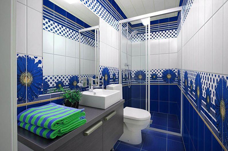 Дизайн синей ванной комнаты - Декор и освещение